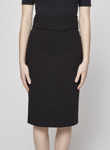 Gucci BLACK BELTED WOOL PENCIL SKIRT