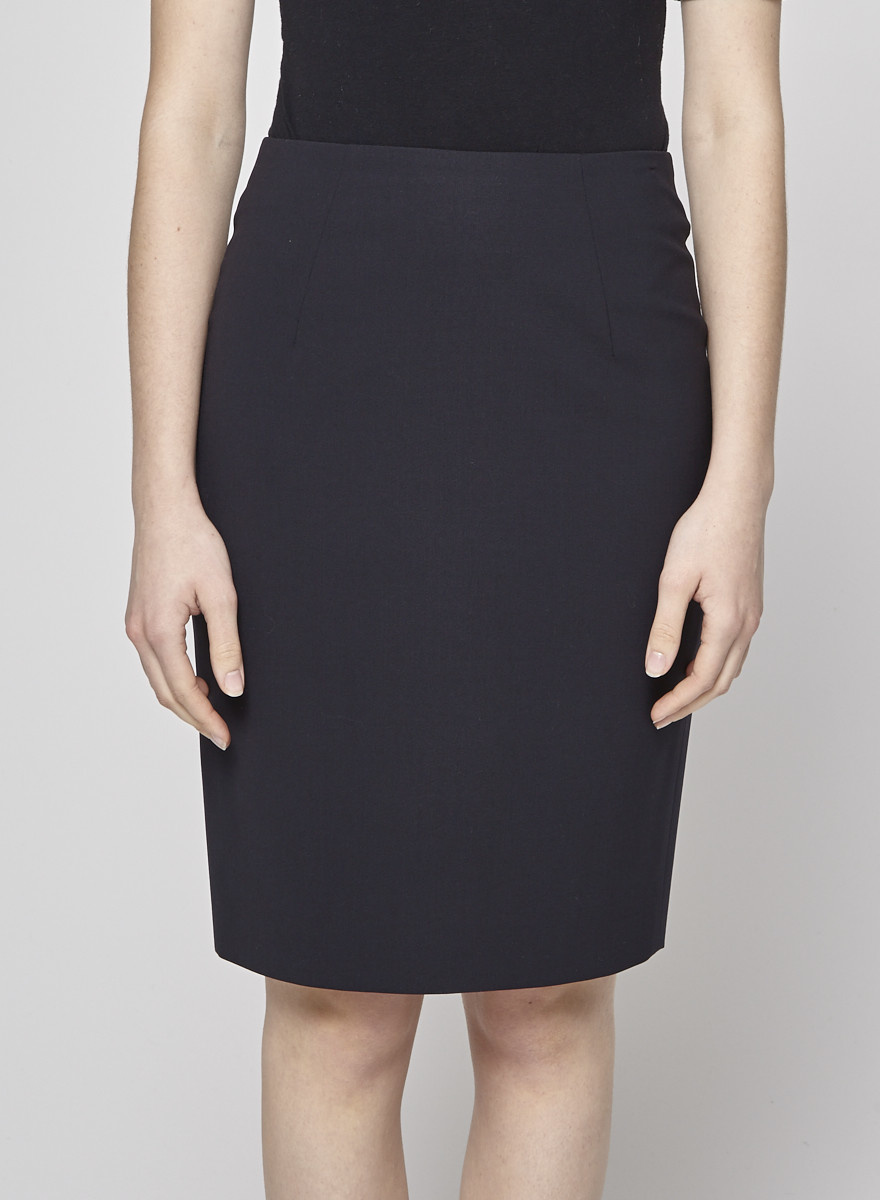 BOSS Hugo Boss Midnight Blue Wool Straight Skirt