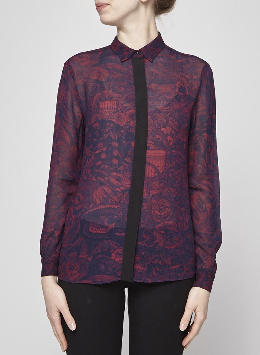 Diesel Burgundy Sheer Shirt with Navy Print