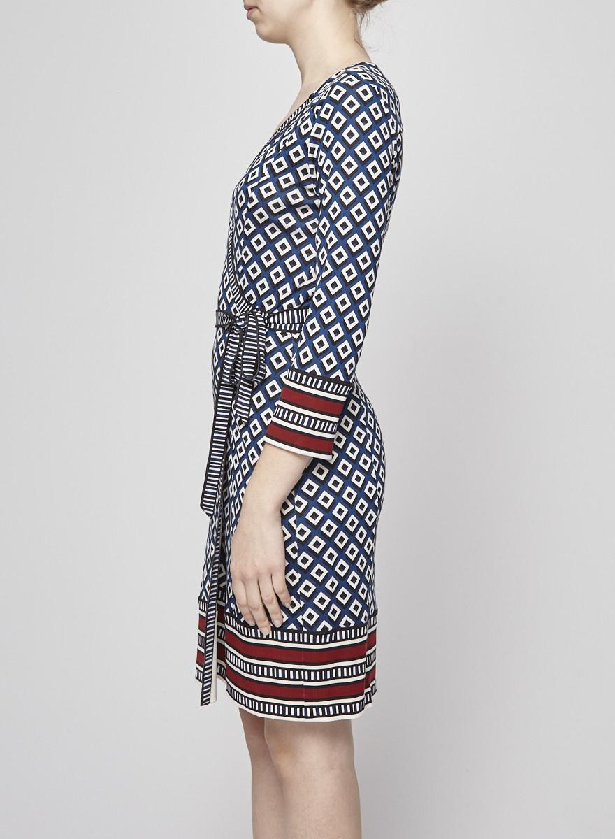 Diane von Furstenberg Navy Silk Wrapped Dress with Geometric Patterns