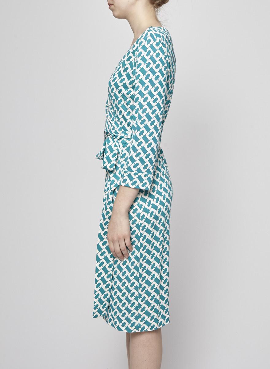 Diane von Furstenberg Robe portefeuille en soie à motifs géométriques turquoise