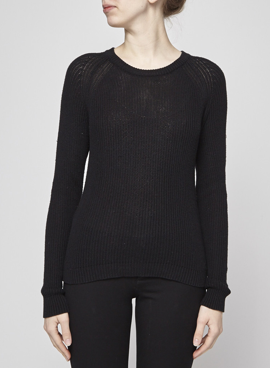 Ça Va De Soi Pull tricot en coton et cachemire noir