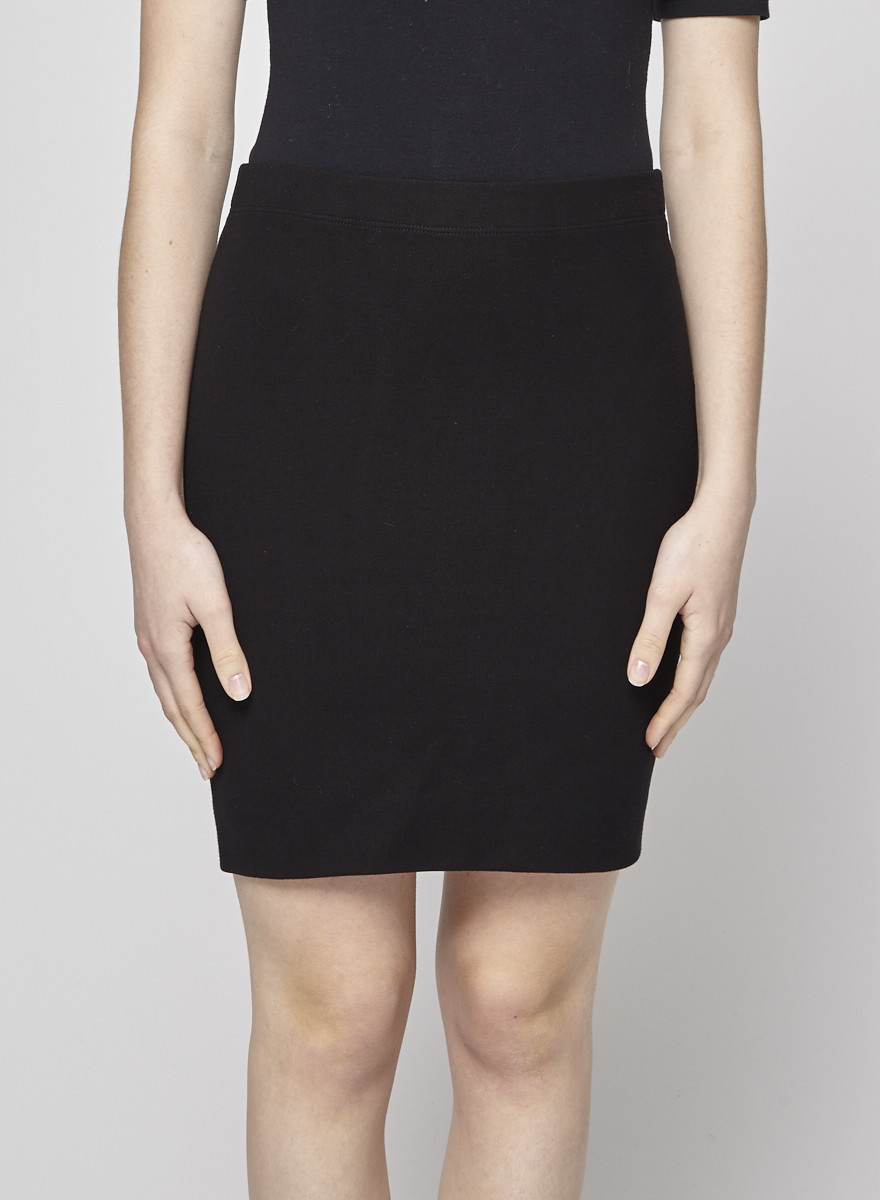 Vince Black Stretch-Knit Skirt