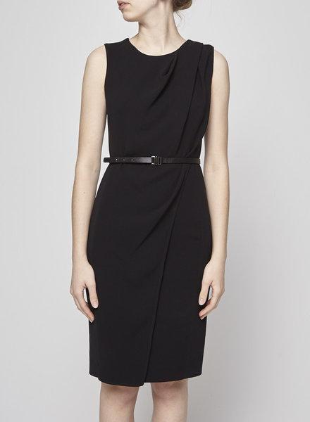 MaxMara BLACK DRAPED DRESS WITH BELT
