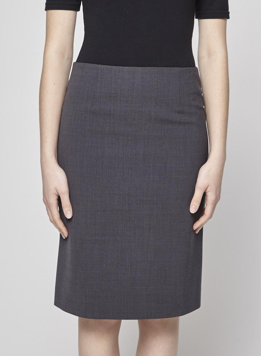 Theory Grey Wool Straight Skirt