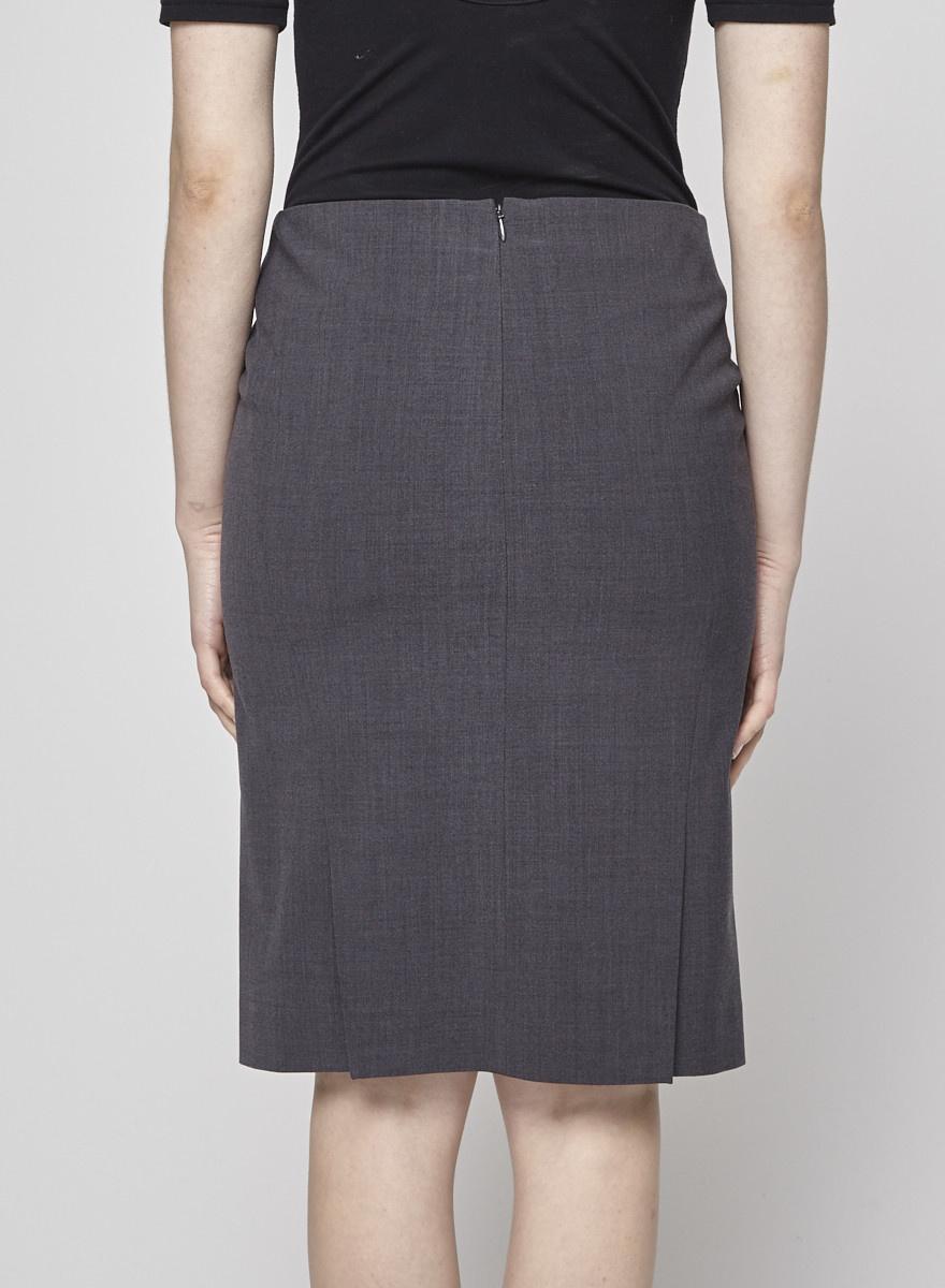 bba234d9a789 Grey Wool Straight Skirt - THEORY - DEUXIEME EDITION