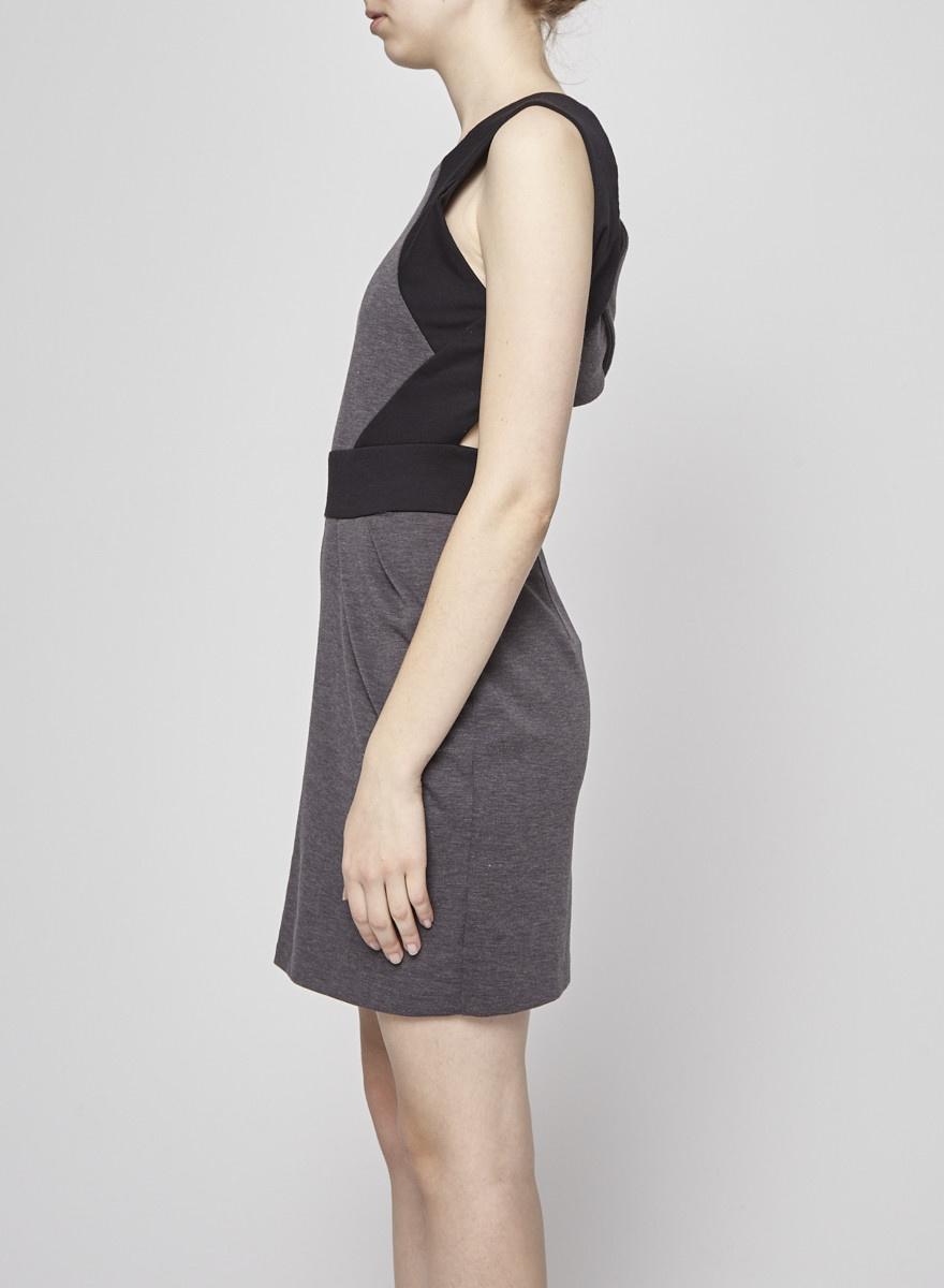 Valerie Dumaine Robe noir et gris dos croisé