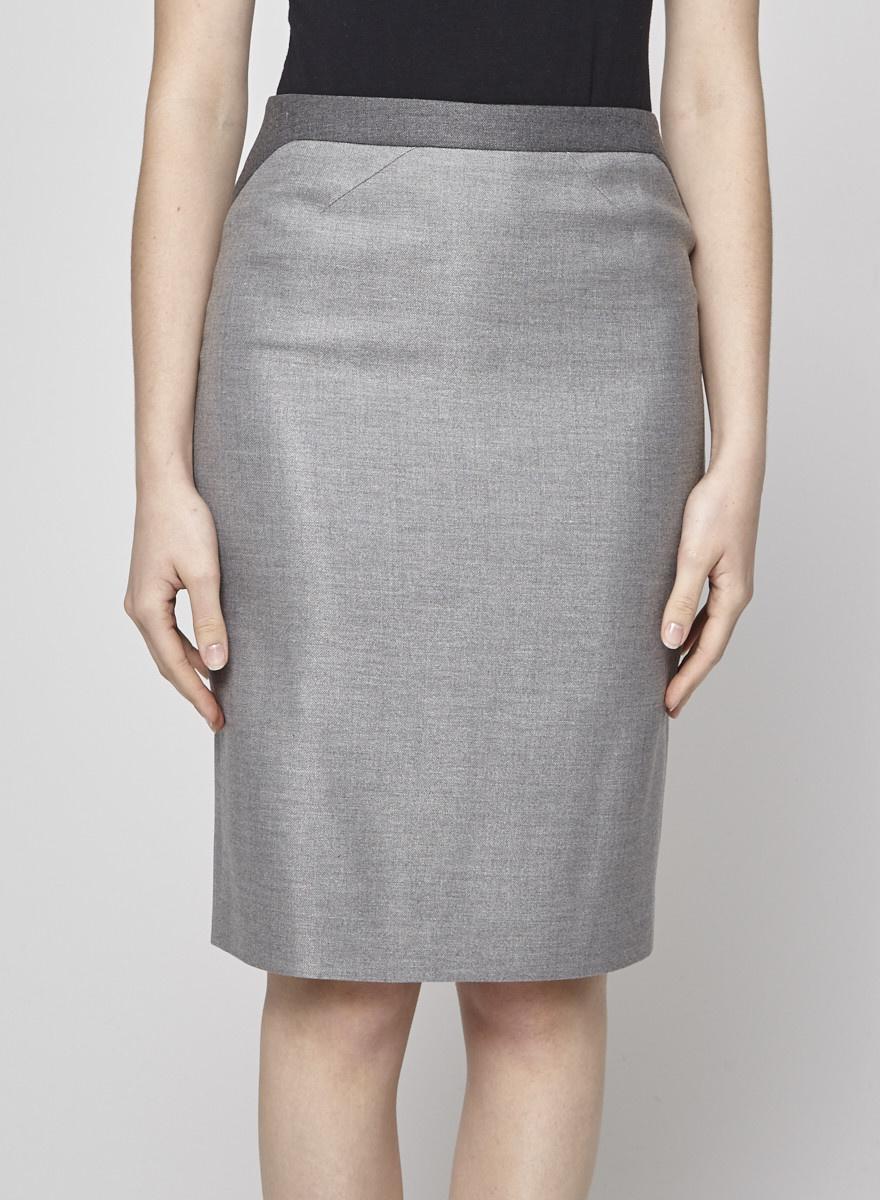 BOSS Hugo Boss Two-Tone Grey Wool Skirt