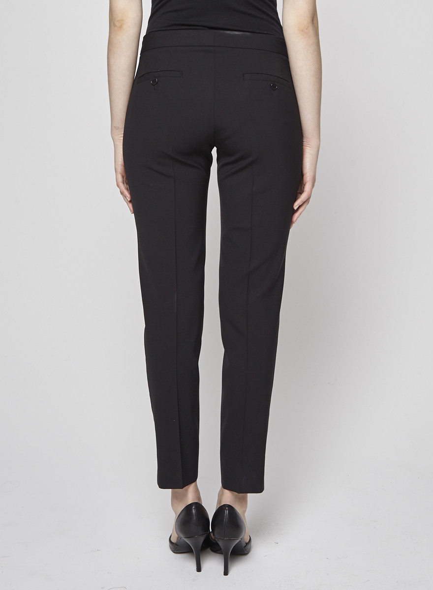 Theory Black Woollen Trousers Cut at the Ankles