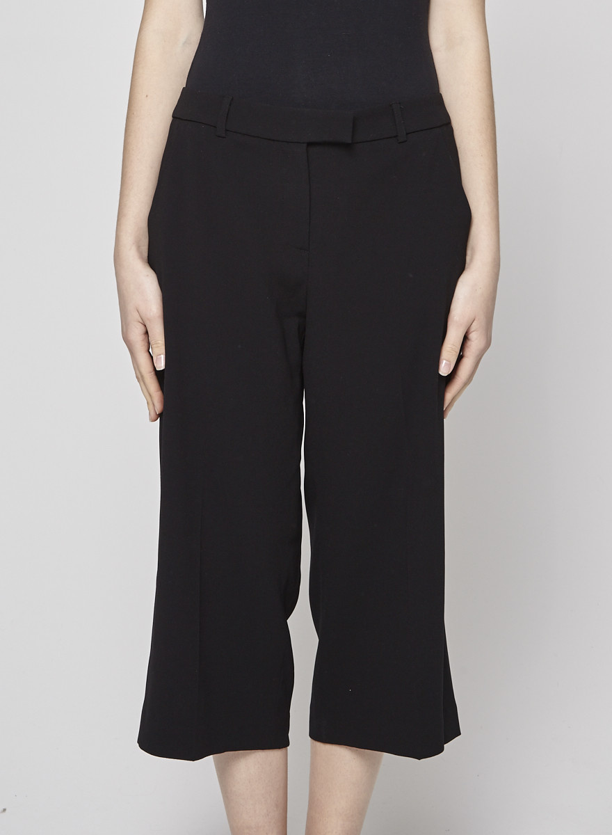 Judith & Charles Black Cropped Wide Leg Trousers