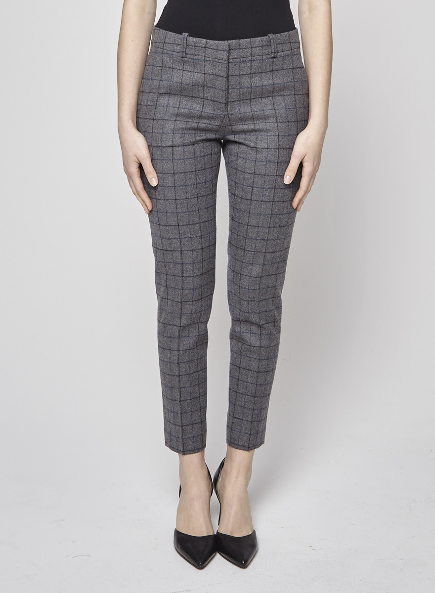 Theory Checked Woolen Gray Trousers