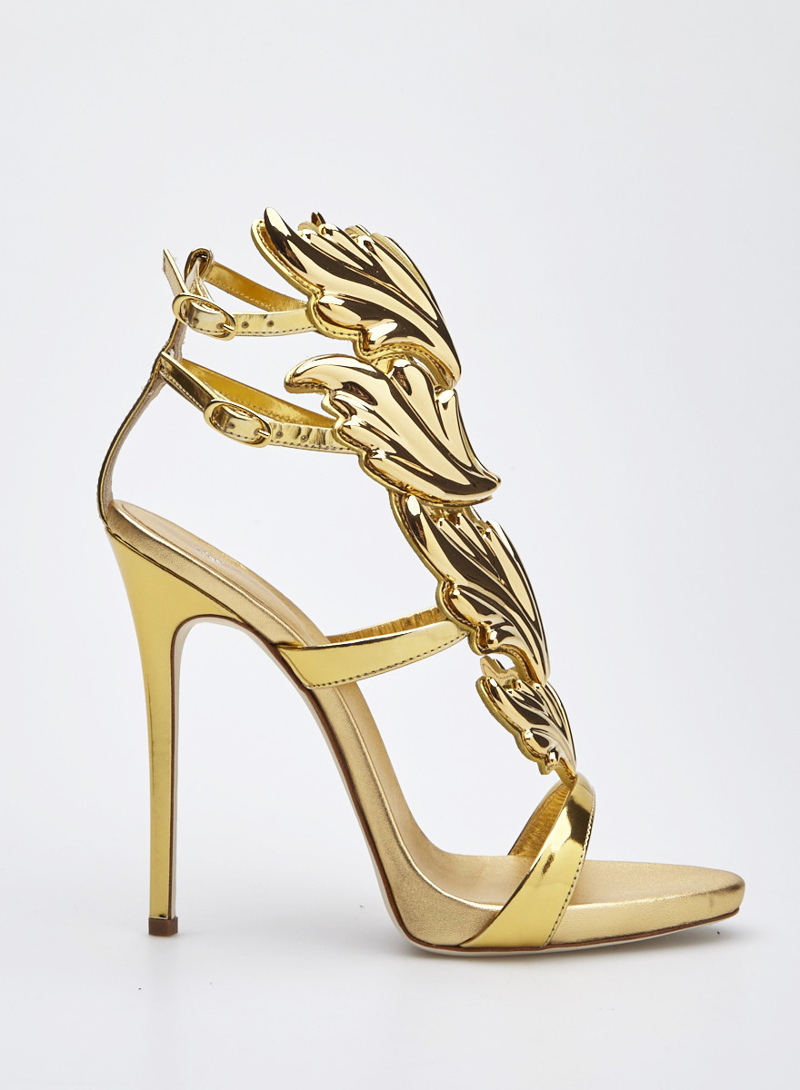 30f5e6e69248 Giuseppe Zanotti Design Gold Patent Leather High Heels Sandals with Gold  Leaf Design ...