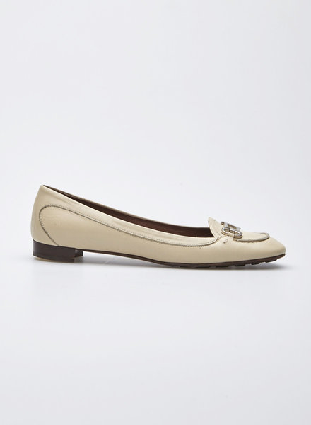 Salvatore Ferragamo CREAM BALLERINAS WITH METAL BUCKLE