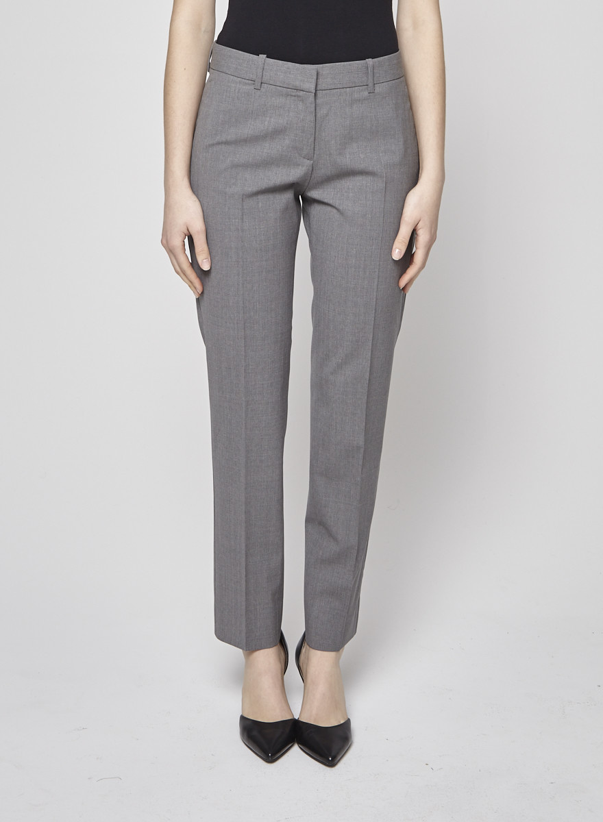 4254a1d564 Gray Wool Tapered Trousers - Theory - DEUXIEME EDITION