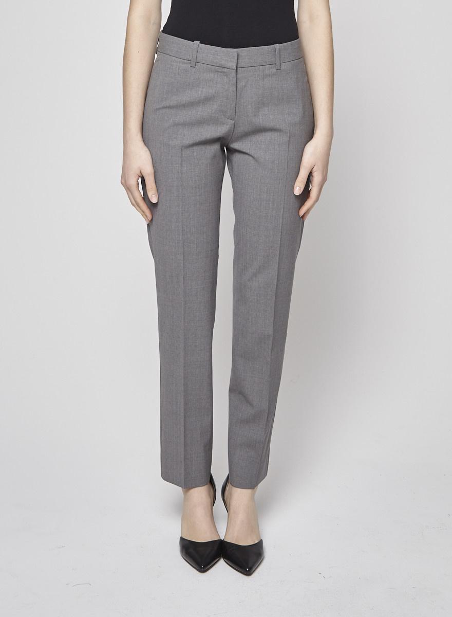 Theory Pantalon fuselé gris en laine