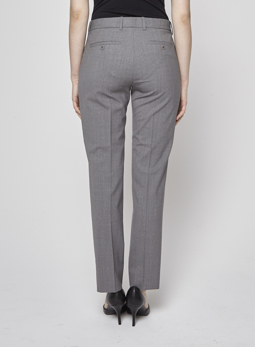 Theory Gray Wool Tapered Trousers