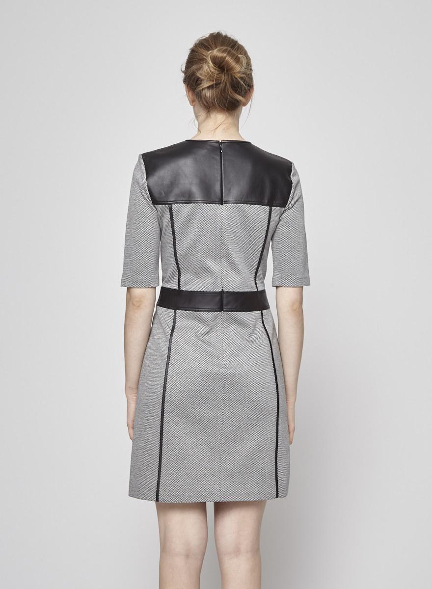 Theory Robe à chevrons noir et blanc empiècements en cuir
