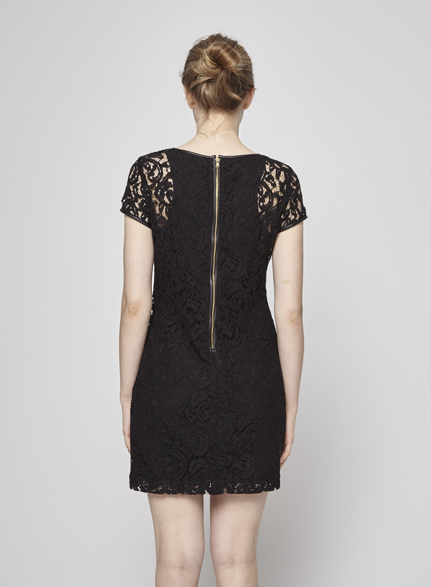 Club Monaco Black Lace Dress with Leather Yoke