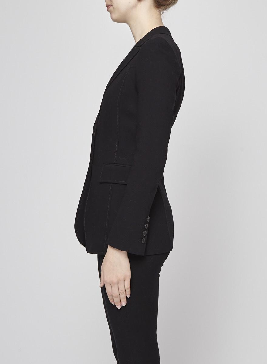 Gucci Black Pick Stitched Wool Blazer
