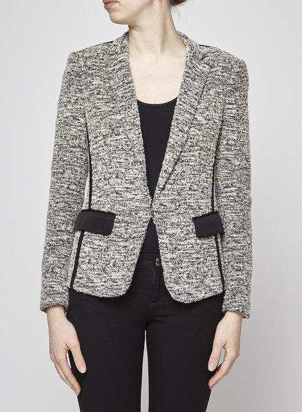 Rag & Bone VESTON EN TWEED NOIR ET BLANC