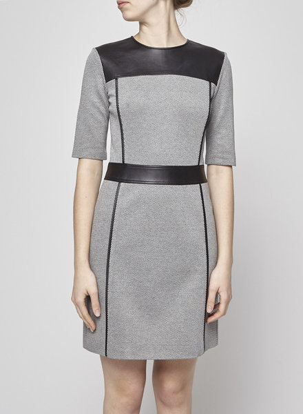 Theory BLACK AND WHITE HERRINGBONE DRESS WITH LEATHER YOKE