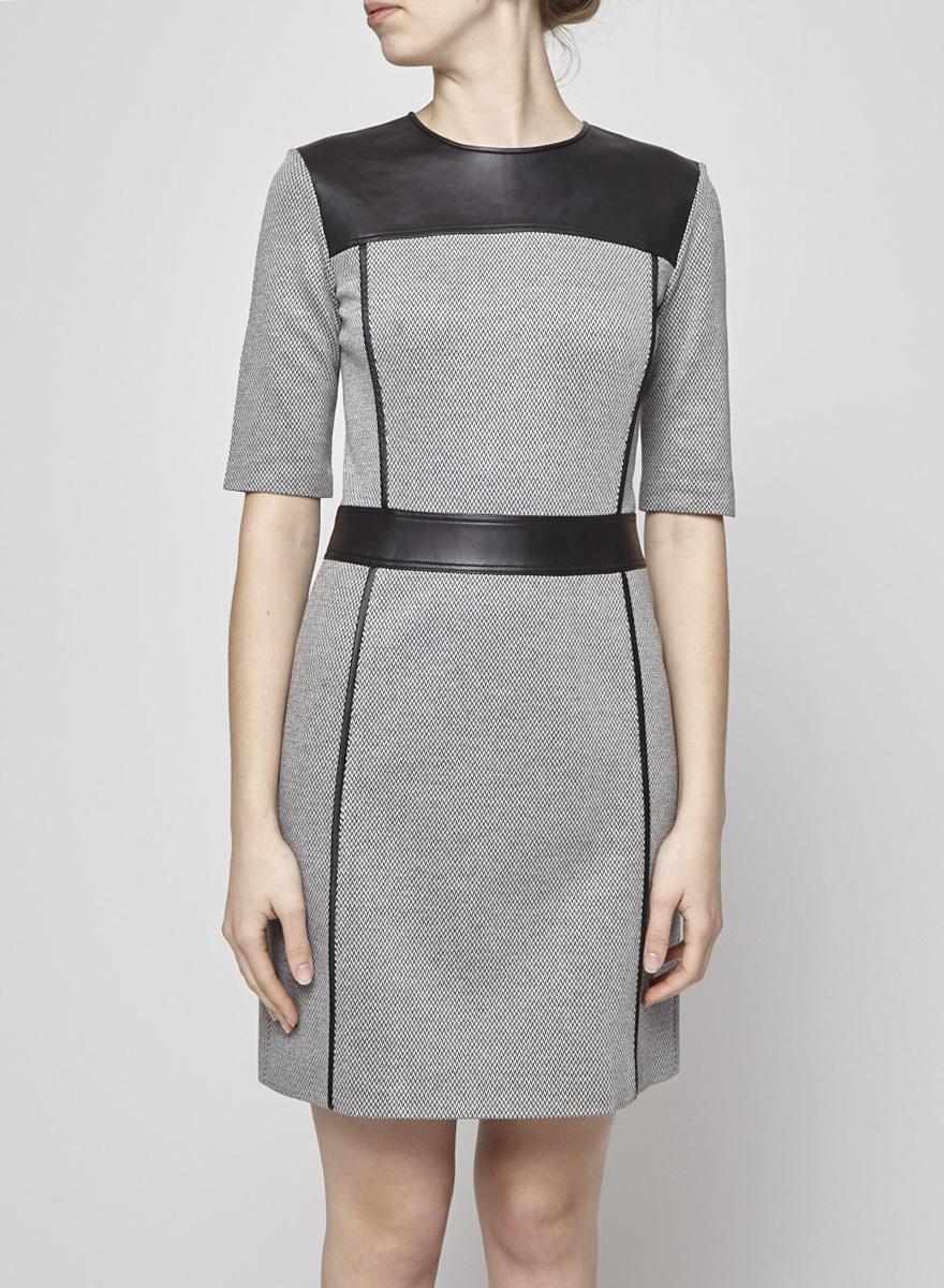 Theory Black and White Herringbone Dress with Leather Yoke