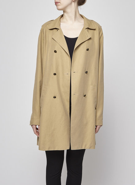 Maison Scotch BEIGE DOUBLE-BREASTED LINEN TRENCH-COAT