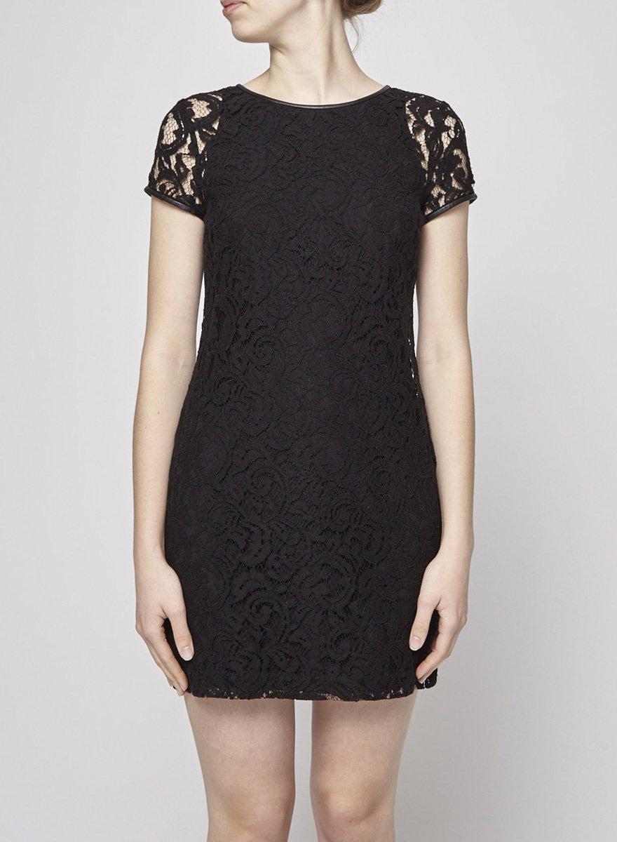 Club Monaco Black Lace Dress with Leather Yoke