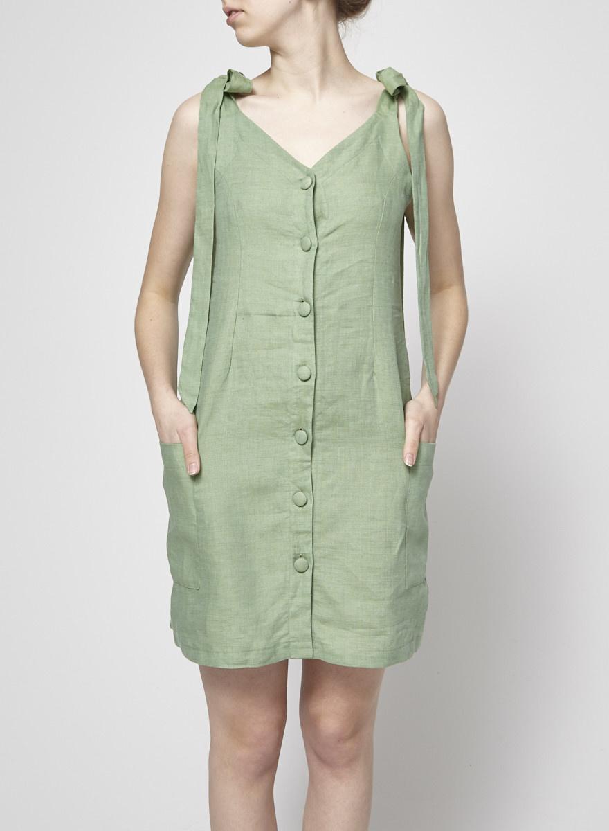Noemiah Linen Green Dress Virginie Style - New