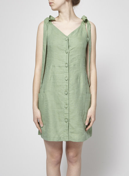 Noemiah LINEN GREEN DRESS VIRGINIE STYLE - NEW