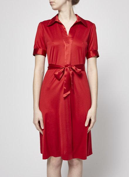 Pink Tartan RED SHINY SILK DRESS