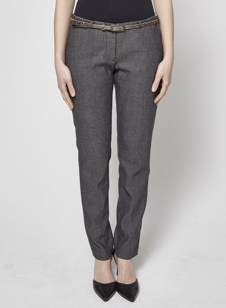 Maison Scotch GRAY HERRINGBONE TROUSERS WITH STUDDED BELT