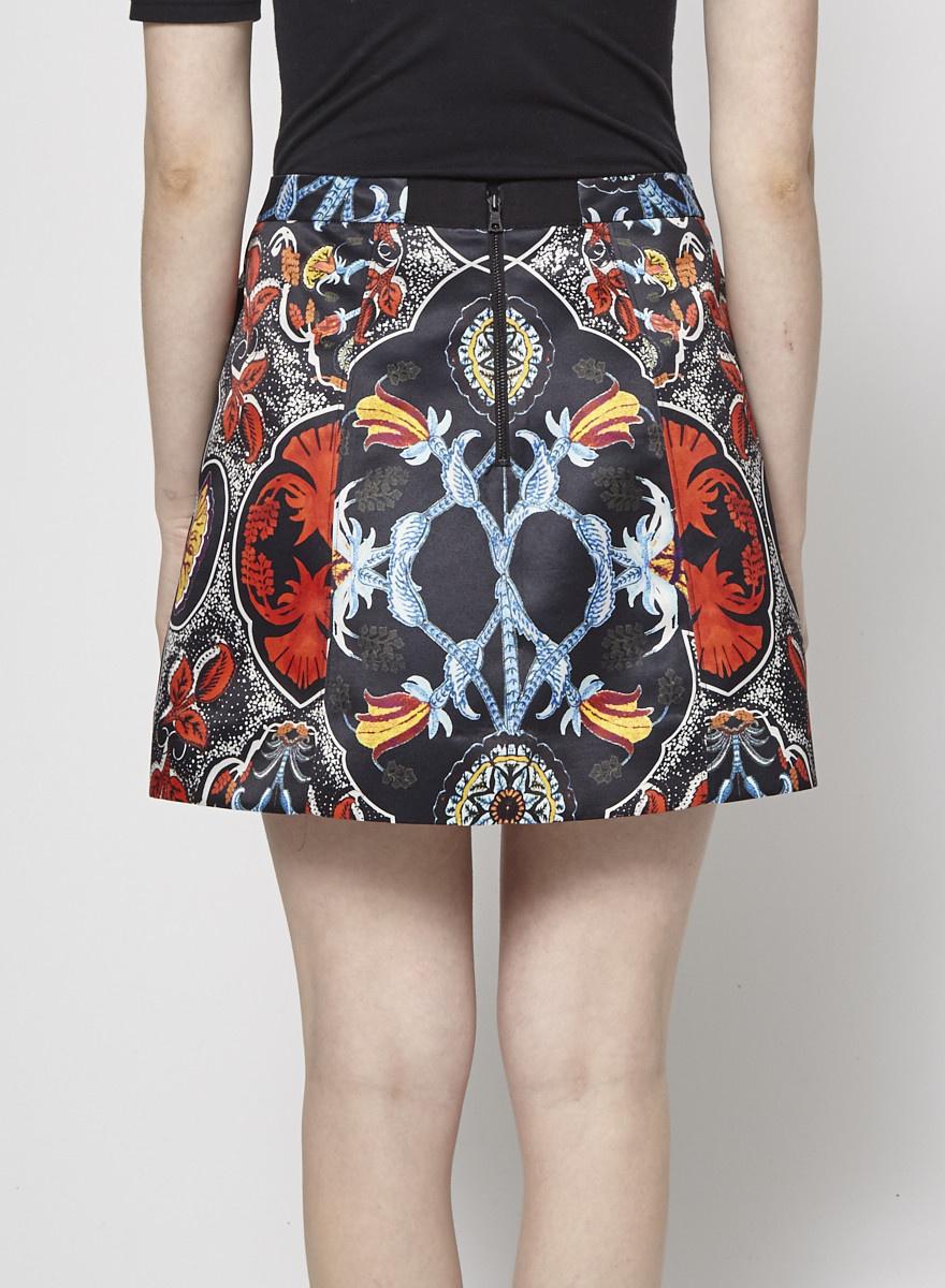 Alice + Olivia Short Black Skirt with Floral Prints