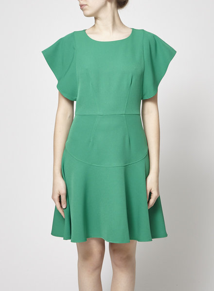 Closet London GREEN FRILL SLEEVE FLARED DRESS - NEW