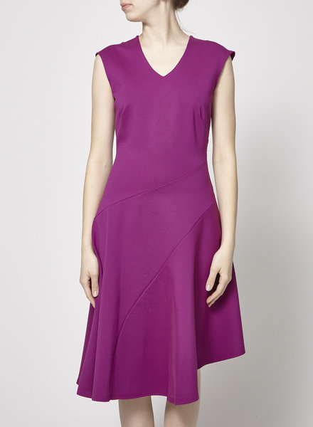 "Closet London ""MAGENTA A-SYMMECTRIC"" FLARED DRESS - NEW"