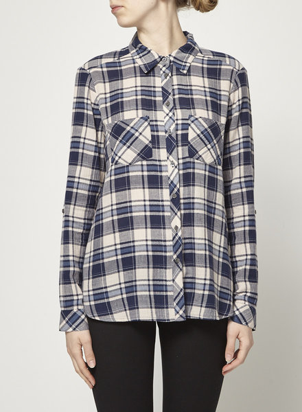 Soft Joie PLAID NAVY AND BEIGE SHIRT