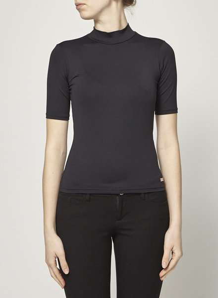 Pink Tartan SHORT SLEEVE BLACK TURTLE NECK