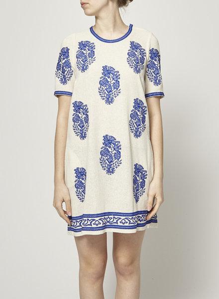 Isabel Marant Étoile BLUE EMBROIDED BEIGE DRESS