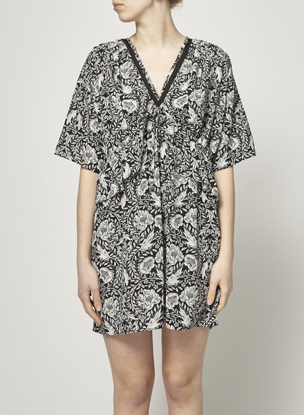 Sport The Kooples BLACK FRILL FLORAL PRINTED DRESS