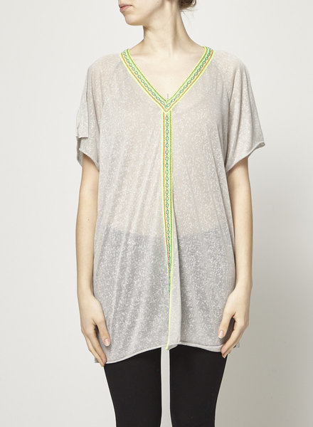 Pitusa GREY SHEER TOP WITH GLOW EMBROIDERY