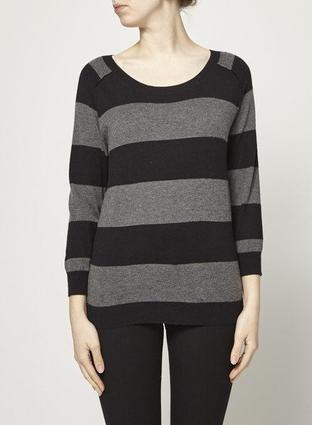 Joie BLACK AND GREY STRIPED SWEATER WITH WOOL