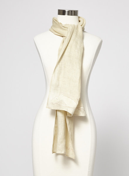 Longchamp BEIGE EMBROIDERED LINEN SCARF