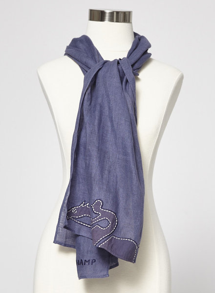 Longchamp EMBROIDERED NAVY LINEN SCARF