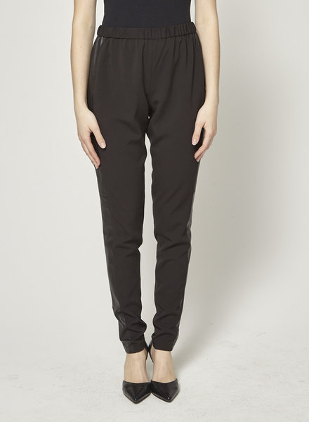Alice + Olivia BLACK PANTS LEATHER BAND AT THE SIDE