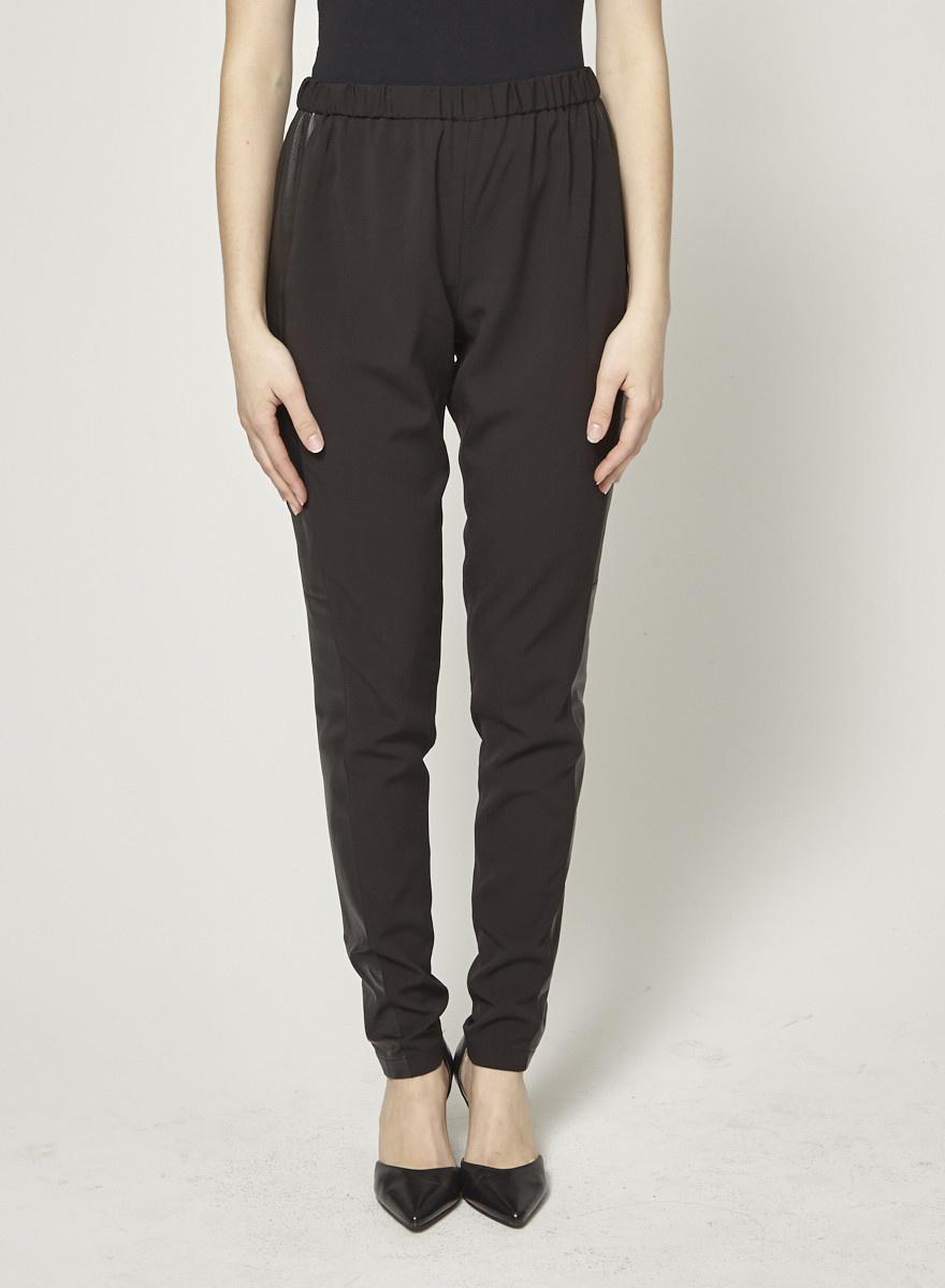 Alice + Olivia Pantalon noir bande en cuir aux côtés