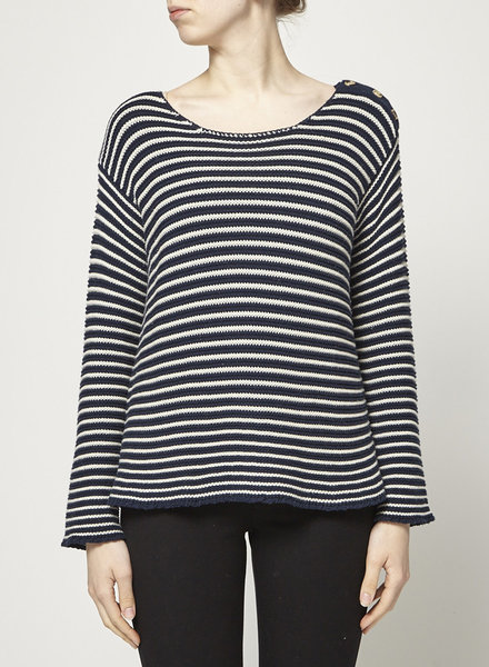 Frame BLUE AND WHITE STRIPED KNIT SWEATER