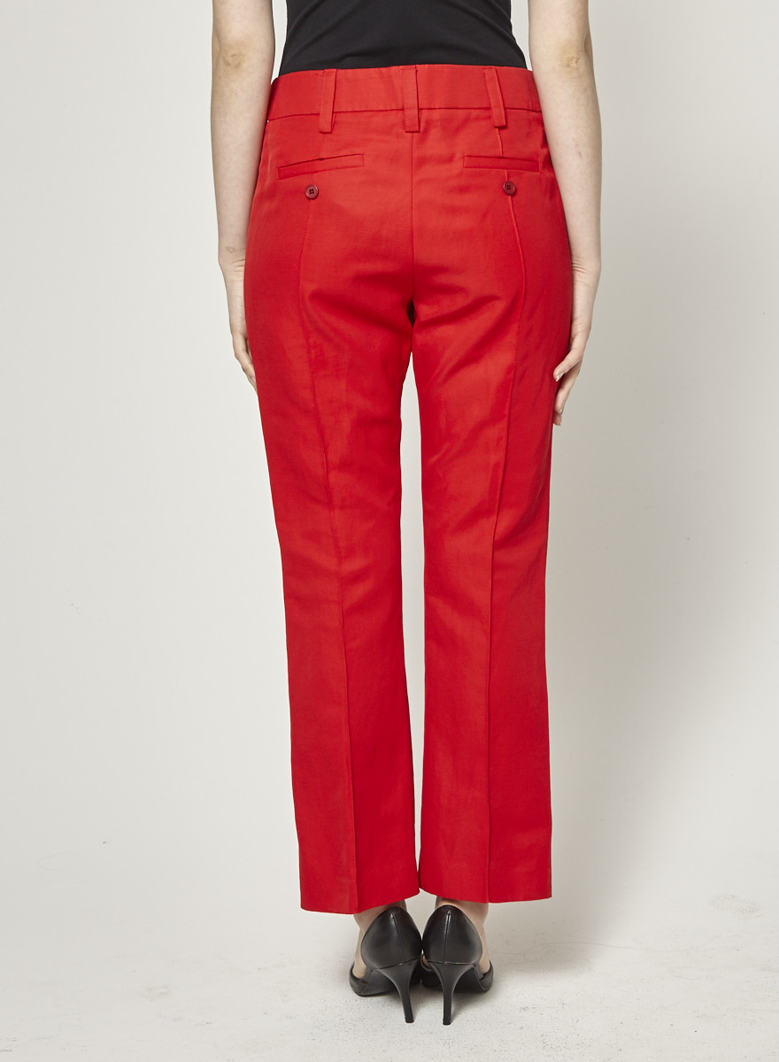Smythe Pantalon rouge écourté