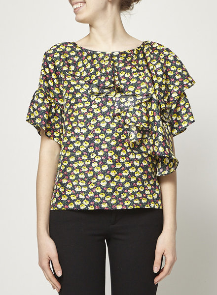 J.Crew YELLOW AND BLACK FLORAL PRINTED FRILL BLOUSE