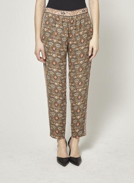 Joie GREEN SILK PRINTED PANTS