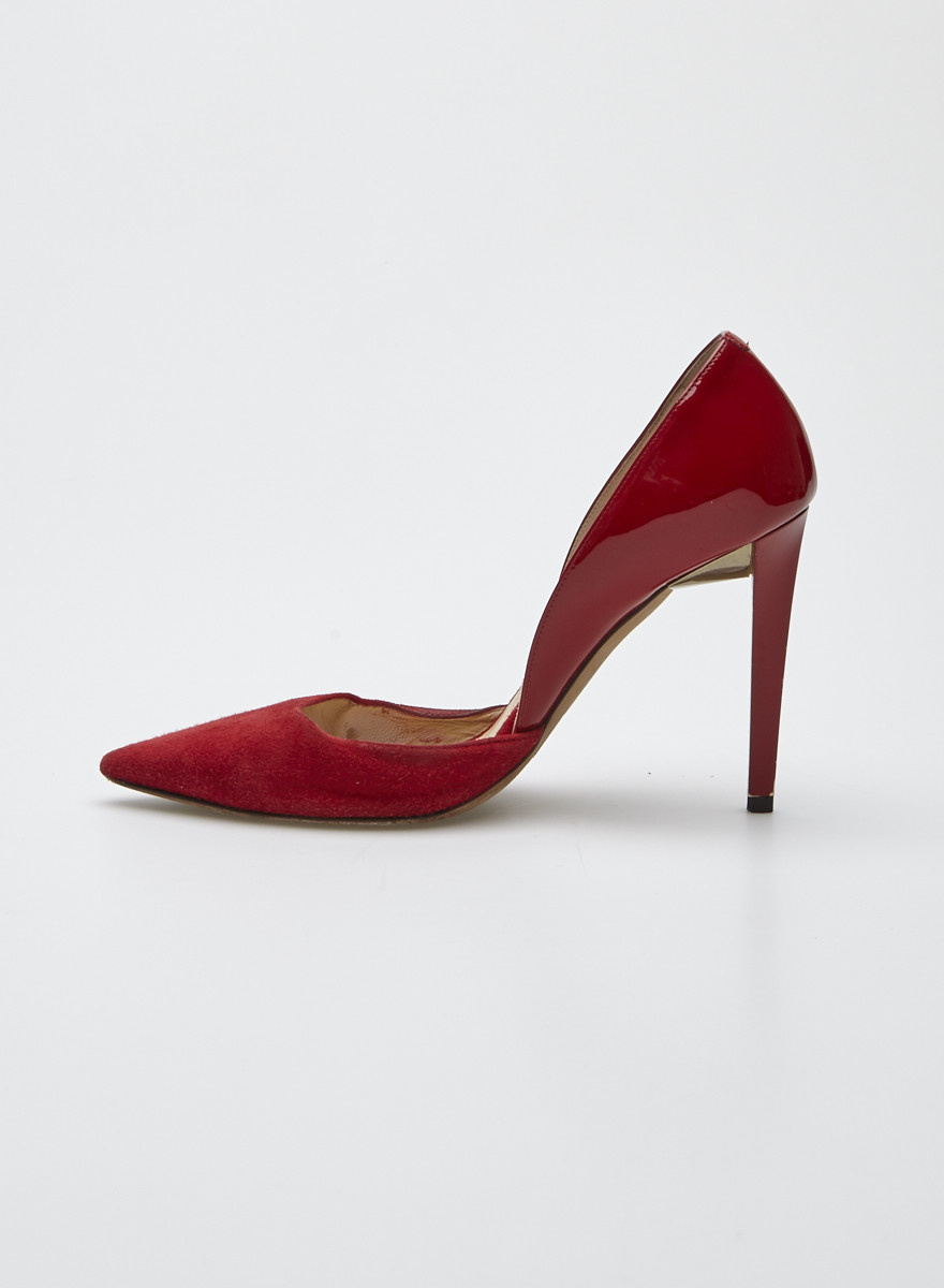 6bd1dc5f31b Jimmy Choo Darylin Red Suede and Patent-Leather Pumps